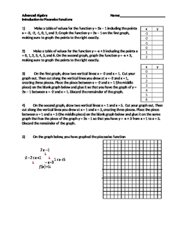Introduction to Graphing Piecewise Functions- Algebra 2