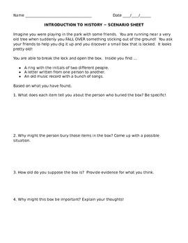 Introduction to History Scenario Sheet