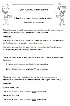 Introduction to Masculine and Feminine words in Spanish