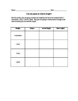 Introduction to Measurement activity