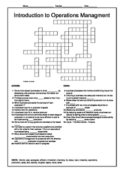 Introduction to Operations Management Revision Crossword