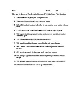 Introduction to Plate Tectonics Guided Questions for Powerpoint
