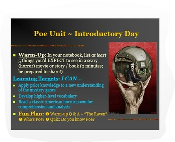 """Introduction to Poe PPT: Biography + """"The Raven"""" & Parody"""