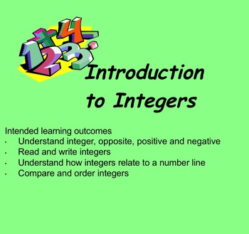 Introduction to Positive and Negative Numbers Activities S