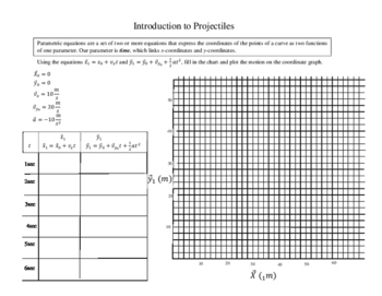 Projectiles in 2-Dimensions an Introductory worksheet