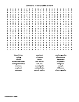 Introduction to Protozoans Vocabulary Word Search for Inve