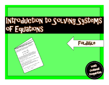 Introduction to Systems of Equations Foldable