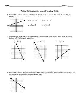 Introduction to Writing Equations Partner Activity
