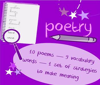 Introduction to poetry packet - vocabulary list & poetry c