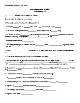 Introduction to the Odyssey - Guided Questionnaire I
