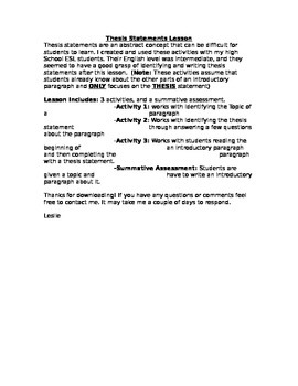 Introduction to the Thesis Statement Activities and Assessment
