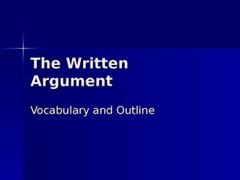 Introduction to the Written Argument