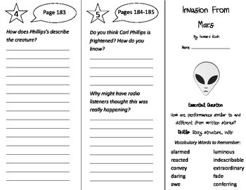 Invasion From Mars Trifold - Journeys 4th Grade Unit 2 Wee