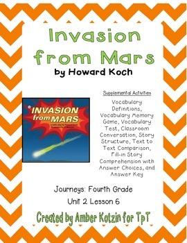 Invasion from Mars Supplemental Activities 4th Grade Journ