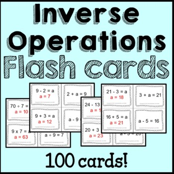 Inverse Operations Flash Cards, Posters, Worksheets Common