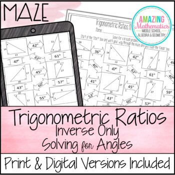 Inverse Trigonometric Ratios (Sine, Cosine & Tangent) Maze