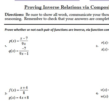 Inverse and Composite Functions Mini Bundle (Common Core A