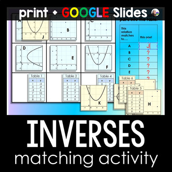 Inverse Functions Matching Activity {graphs and tables}