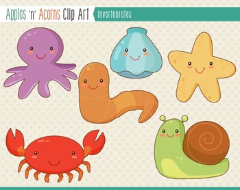 Invertebrate Animals Clip Art - color and outlines