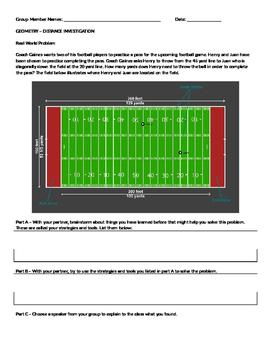 Investigation - Distance Formula using football - GPE.B.7
