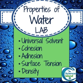 lab unique properties of water cohesion by science island teachers pay teachers. Black Bedroom Furniture Sets. Home Design Ideas