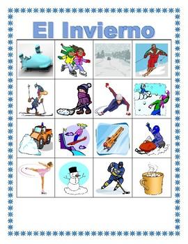 Invierno (Winter in Spanish) Bingo