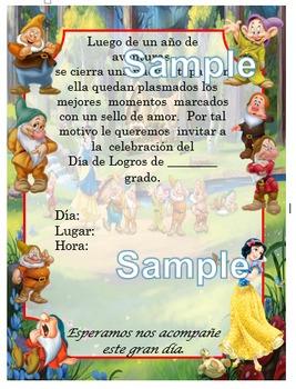 Invitación día de  Logros - Motivo Blanca Nieves