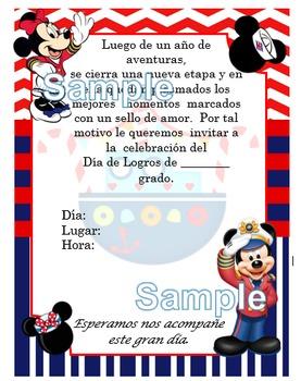 Invitación día de  Logros - Motivo Mickey Marinero