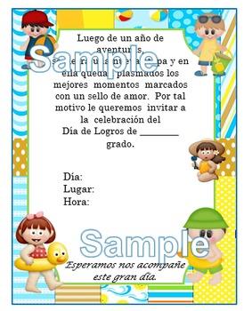 Invitación día de  Logros - Motivo Playa Niños