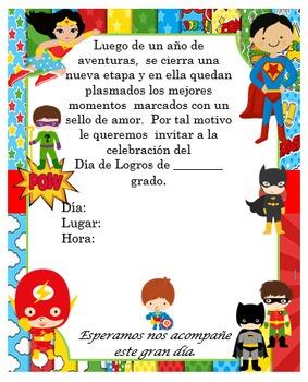 Invitación día de  Logros - Motivo  Super heroes niños