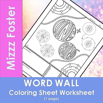 Ionic Bond Word Wall Coloring Sheet