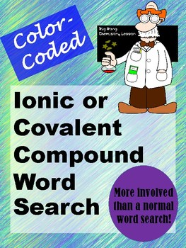 Ionic vs. Covalent Compounds Word Search - Color-Coded