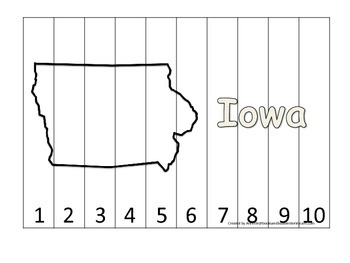 Iowa Number Sequence Puzzle.  Learn the States preschool p