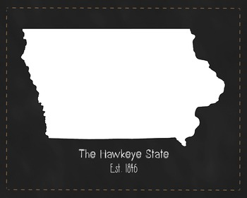 Iowa State Map Class Decor, Government, Geography, Black a