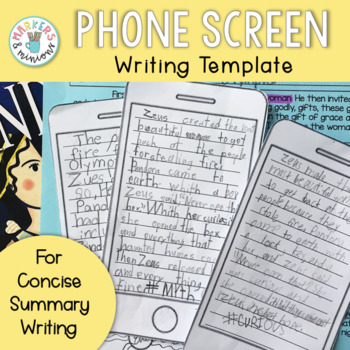 iPhone Screen Writing Template for Summarizing