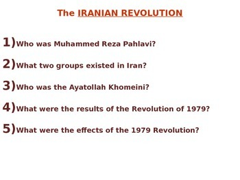 Iranian Revolution 1979 PowerPoint - NYS Global Regents Aligned