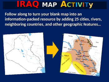 Iraq Map Activity- fun, engaging, follow-along 24-slide PPT