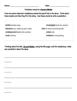 Iris and Walter Prediction Sheet
