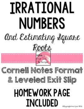 Irrational Numbers and Estimating Square Roots  Notes PDF
