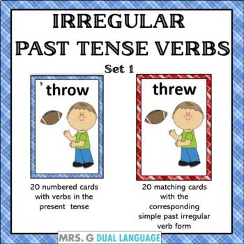 Irregular Past Tense Verbs- Matching Card Game Set 1