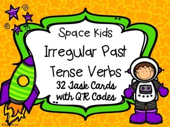 Irregular Past Tense Verbs Task Cards with QR Codes