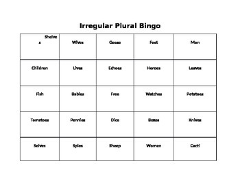 Irregular Plural Bingo