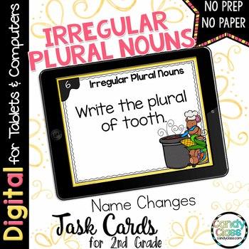 Irregular Plural Noun Task Cards for Google Classroom Use