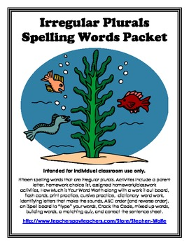 Irregular Plurals Spelling Basic Word Work Packet
