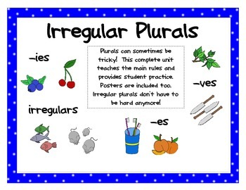 Irregular Plurals (student practice booklet, rule posters