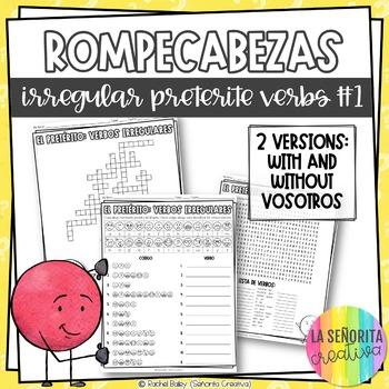 Irregular Preterite Verbs Word Puzzles Set 1 (Wordsearch a