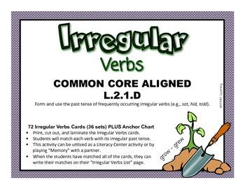 Irregular Verb Activity (Common Core Aligned L.2.1.D)