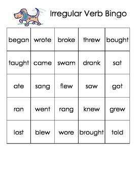 Irregular Verb Bingo