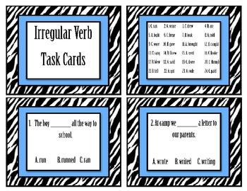 Irregular Verbs Task Cards (24 irregular past tense verbs)