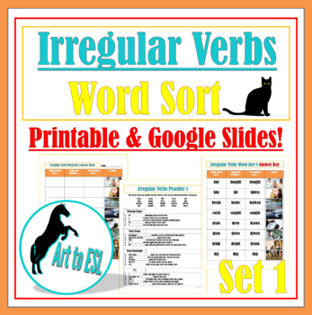 Irregular Verbs Word Sort #1 with Pictures and Cloze Revie